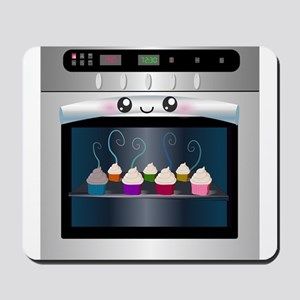 Cute Happy Oven with cupcakes Mousepad