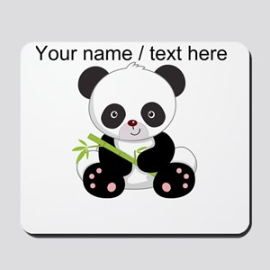 Custom Panda With Bamboo Mousepad