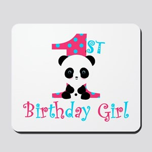 1st Birthday Girl Panda Bear Mousepad