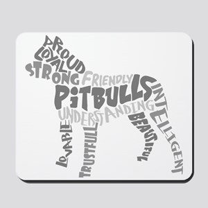 Pit Bull Word Art Greyscale Mousepad