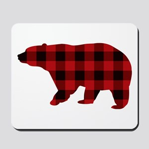lumberjack buffalo plaid Bear Mousepad
