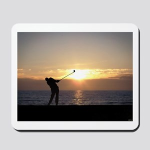 Playing Golf At Sunset Mousepad