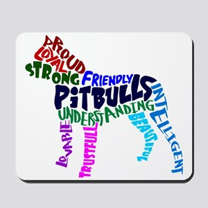 Pit Bull Word Art Multicolor Mousepad