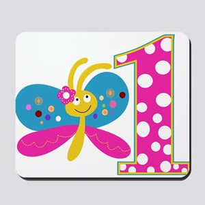Girly Butterfly First Birthday Mousepad