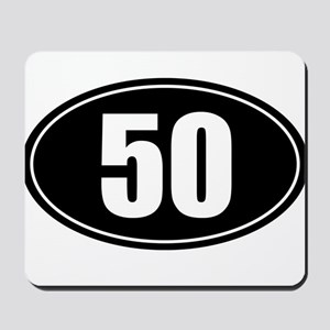 50 mile black oval sticker decal Mousepad
