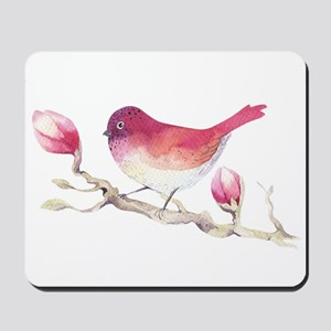 Pink Sparrow Bird on Magnolia Flower Bra Mousepad