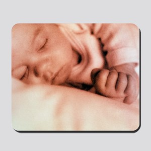 Sleeping two month old baby boy Mousepad