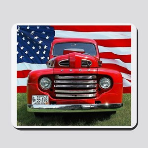 1948 Red Ford Truck USA Flag Mousepad