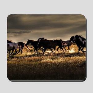 Wild Horses Running Free Mousepad