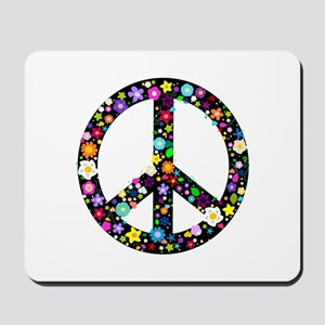 Hippie Flowery Peace Sign Mousepad