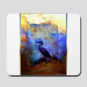 Beautiful great heron, wildlife art Mousepad