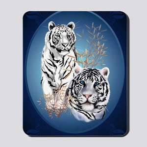 Two White Tigers Oval LargePoster Mousepad