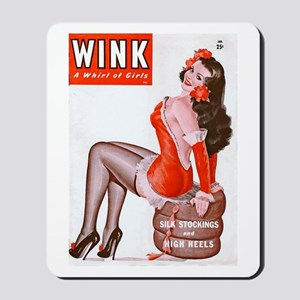 Wink Vintage Brunette Pin Up in Red Mousepad