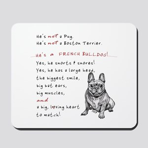 HE'S not a Pug! (Smiling) Mousepad