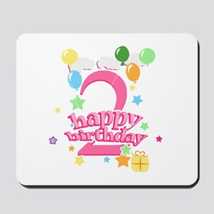 2nd Birthday with Balloons - Pink Mousepad