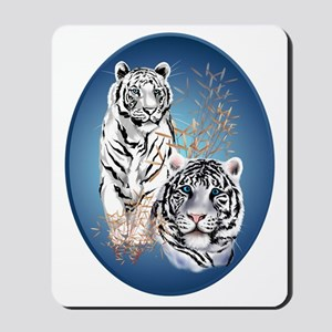 Two White Tigers Oval Trans Mousepad