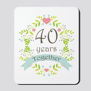 40th Anniversary flowers and hearts Mousepad