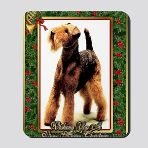 Airedale Terrier Dog Christmas Mousepad