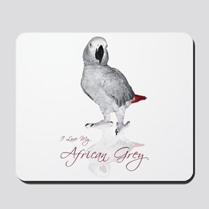 i love my african grey Mousepad
