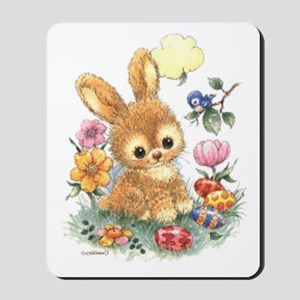 Cute Easter Bunny With Flowers And Eggs Mousepad