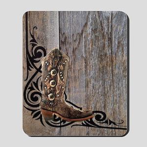 cowboy boots barnwood Mousepad