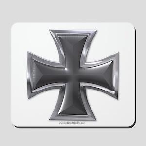 Black & Chrome Iron Cross Mousepad