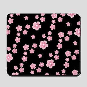 Cherry Blossoms Black Pattern Mousepad