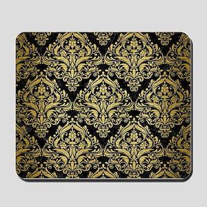 DAMASK1 BLACK MARBLE & GOLD BRUSHED META Mousepad