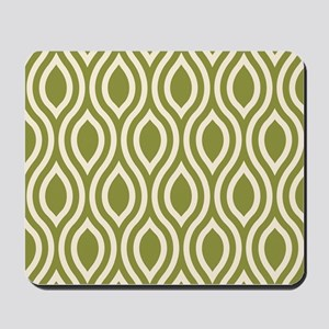Ogee Olive Green Retro Mousepad