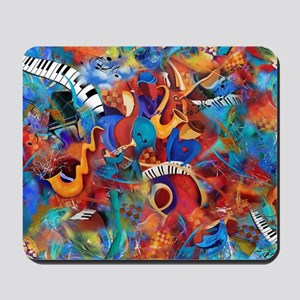 Music Trio Curvy Piano Colorful Abstract Mousepad