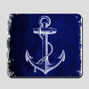 nautical navy blue anchor Mousepad