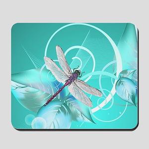 Cute Dragonfly Aqua Abstract Floral Swir Mousepad