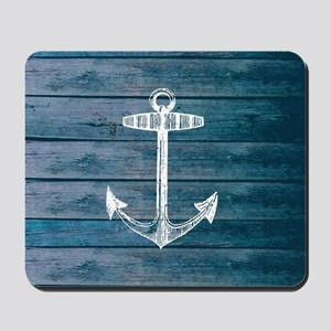 Anchor on Blue faux wood graphic Mousepad