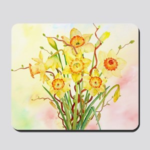 Watercolor Daffodils Yellow Spring Flowe Mousepad