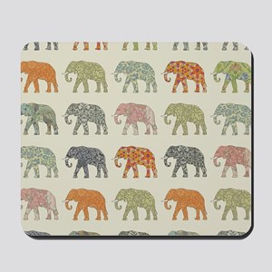 Elephant Colorful Repeating Pattern Deco Mousepad