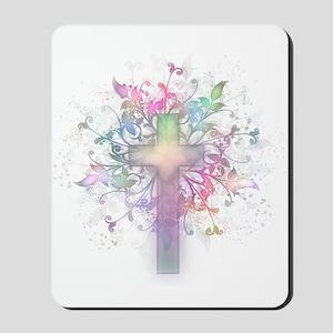 Rainbow Floral Cross Mousepad