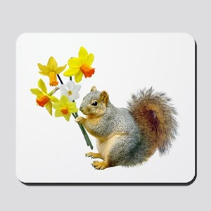 Squirrel Daffodils Mousepad