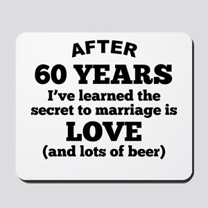 60 Years Of Love And Beer Mousepad