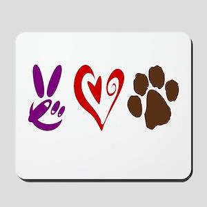 Peace, Love, Pets Symbols Mousepad