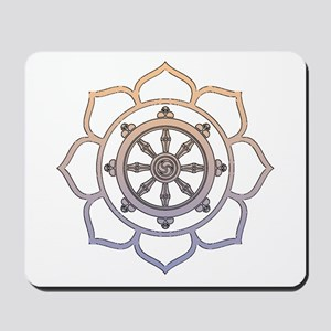 Dharma Wheel with Lotus Flowe Mousepad
