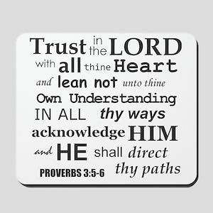 Proverbs 3:5-6 KJV Dark Gray Print Mousepad