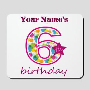 6th Birthday Splat - Personalized Mousepad