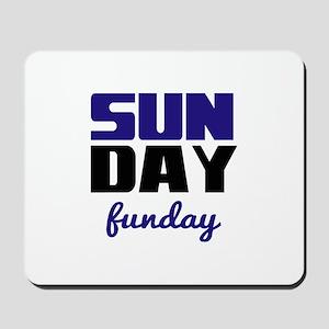 Sunday funday (black/blue) Typographic Mousepad