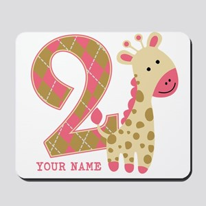 2nd Birthday Giraffe Personalized Mousepad