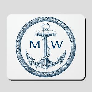 Anchor, Nautical Monogram Mousepad