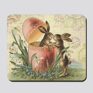 Vintage French Easter bunnies in egg Mousepad
