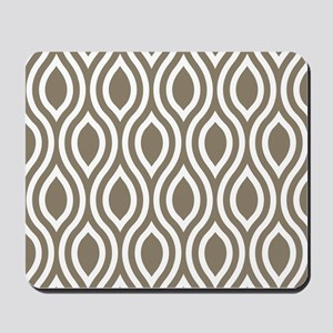 Modern Tan Ogee Pattern Mousepad