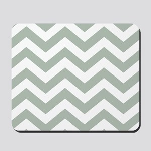 Chevron Zig Zag Pattern: Sage Green Mousepad