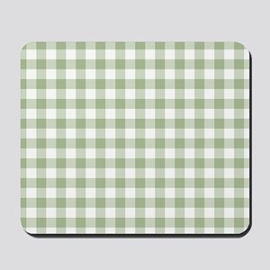 Sage Green Gingham Checked Pattern Mousepad