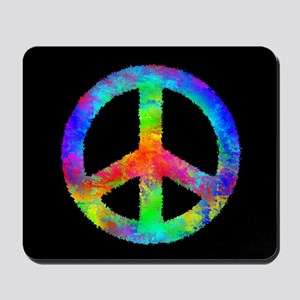 Abstract Rainbow Peace Sign Mousepad